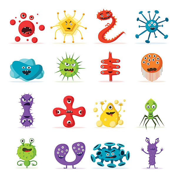 Set of bacteria characters. Cartoon vector illustration. Microbiology Set of bacteria characters. Cartoon vector illustration. Microbiology. Isolated background. Funny monsters. Angry viruses unhygienic stock illustrations