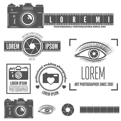 Set of badge, emblem, label and elements for studio or