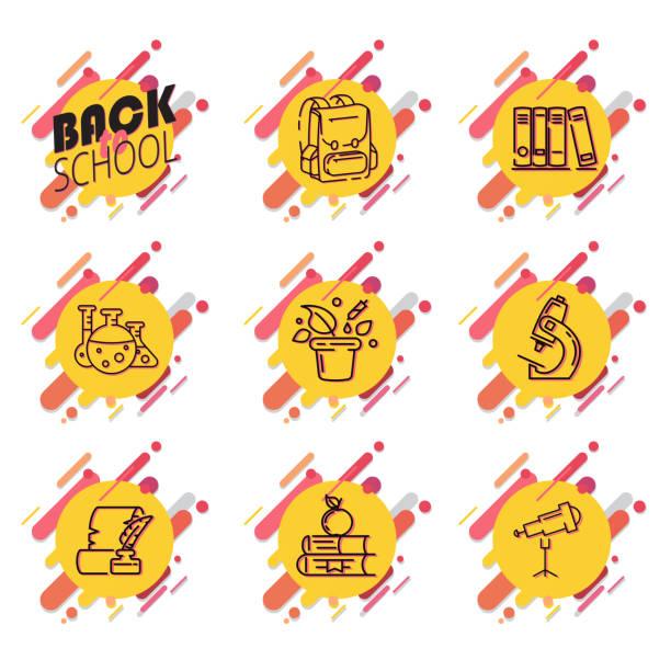 Satz von Abzeichen mit Schulbedarf auf weißem Hintergrund. Vektor-Illustration. – Vektorgrafik