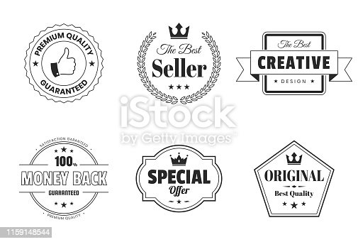 Set of 6 Black and white badges and labels in a line art style with a thin black outline, isolated on white background (Premium Quality - Guaranteed, The Best Seller, Creative - The Best Design, Money Back - 100% Guaranteed, Special Offer, Original - Best Quality). Elements for your design, with space for your text. Vector Illustration (EPS10, well layered and grouped). Easy to edit, manipulate, resize or colorize.