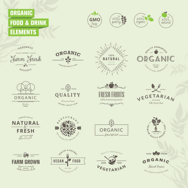 set of badges and labels elements for organic food and drink - organic stock illustrations, clip art, cartoons, & icons