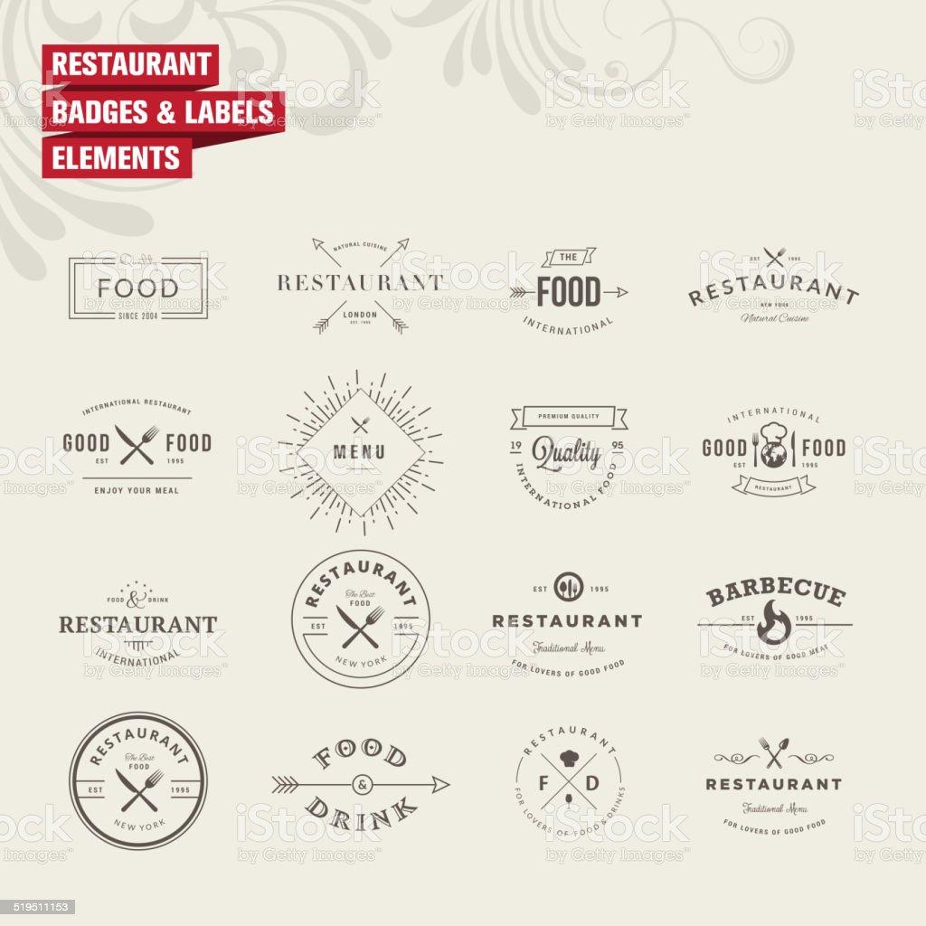 Satz von Abzeichen und Etiketten Elemente für restaurant - Lizenzfrei Abstrakt Vektorgrafik