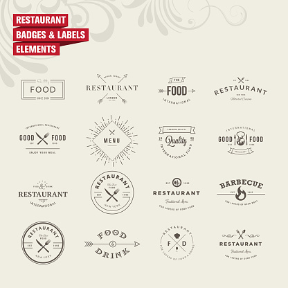 Set of badges and labels elements for restaurant