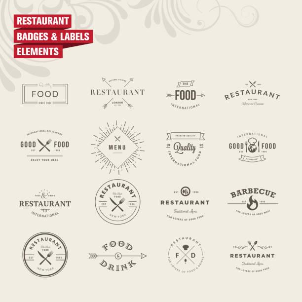 satz von abzeichen und etiketten elemente für restaurant - restaurant stock-grafiken, -clipart, -cartoons und -symbole
