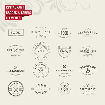 Satz Von Abzeichen Und Etiketten Elemente Für Restaurant Stock Vektor Art und mehr Bilder von Abstrakt