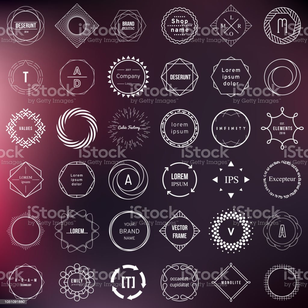 Set of badges and labels elements. Modern geometric design – circles royalty-free set of badges and labels elements modern geometric design circles stock illustration - download image now
