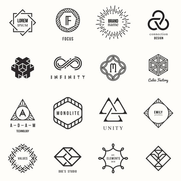 ilustraciones, imágenes clip art, dibujos animados e iconos de stock de set of badges and labels elements - moda hipster
