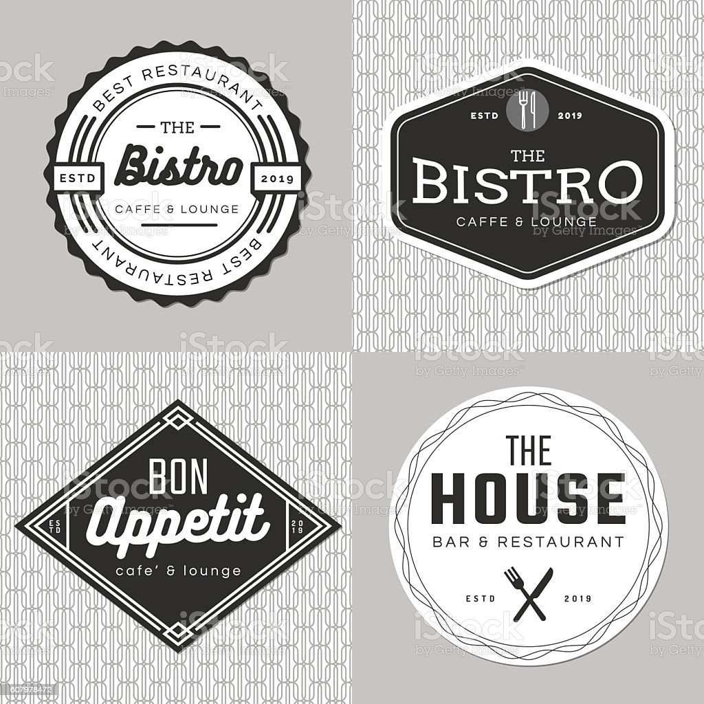 Set of badges, banner, labels, logo for food restaurant, catering. vector art illustration
