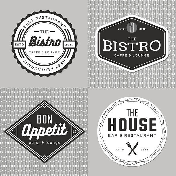 set of badges, banner, labels, logo for food restaurant, catering. - fine dining stock illustrations, clip art, cartoons, & icons