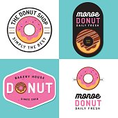 Set of badges, banner, labels and logos for donut shop and bakery - Vector illustration.