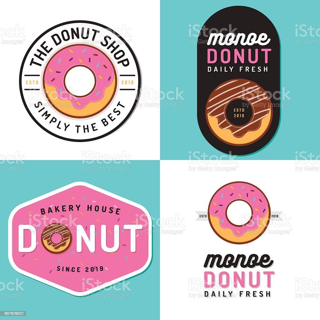 Set of badges, banner, labels, logos for donut shop bakery. vector art illustration