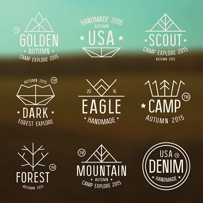 Set of badges in thin line style