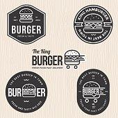 Set of badges, banner, labels and logo for hamburger, burger shop. Simple and minimal design - vector illustration.