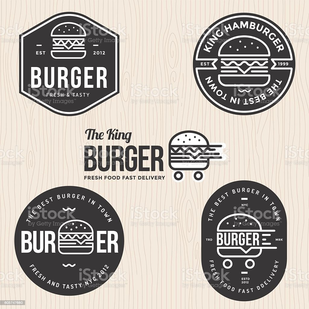Set of badges, labels and logo for hamburger, burger shop. - ilustración de arte vectorial