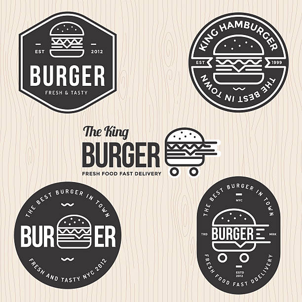 ilustrações, clipart, desenhos animados e ícones de set of badges, labels and logo for hamburger, burger shop. - burger