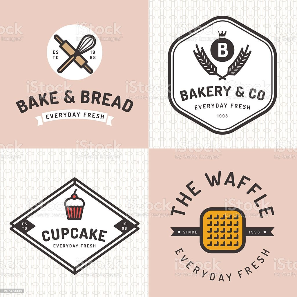 Set of badges, logos, icons for bakery shop with pattern. vector art illustration