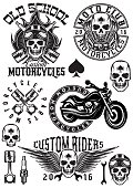 set of vector badges, logos, design elements on a theme motorcycles with skulls