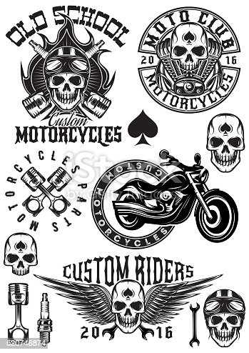 Set Of Badges Logos On Theme Motorcycles With Skulls Stock