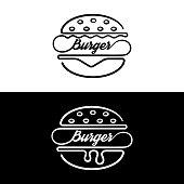 Set of badges sandwich.icon hamburger.Linear style.Symbol fast food.Vector illustration.