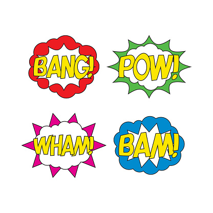 set of badges with word 'BAM! BANG! POW! WHAM!' in retro comic explosion cloud on white background. vector vintage pop art illustration easy to edit and customize. eps 10