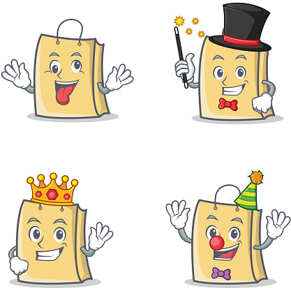 Set of bag character with crazy magician king clown vector illustration