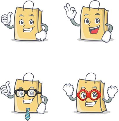 Set of bag character with proud okay businessman hero vector illustration