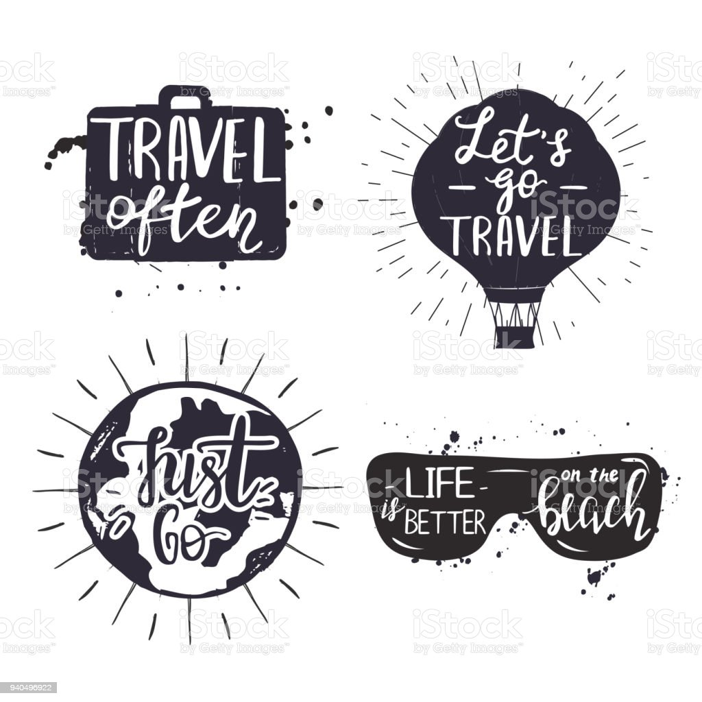 Set Of Bages With Travel Quotes Stock Vector Art More Images Of