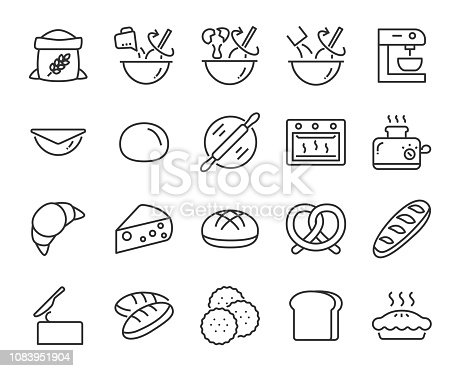 set of bake icons such as baking, mix, dough, bread, pie, food