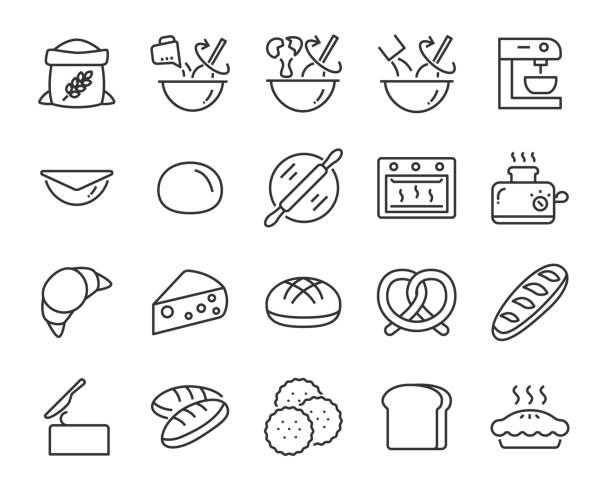 illustrazioni stock, clip art, cartoni animati e icone di tendenza di set of bake icons such as baking, mix, dough, bread, pie, food - cucina domestica