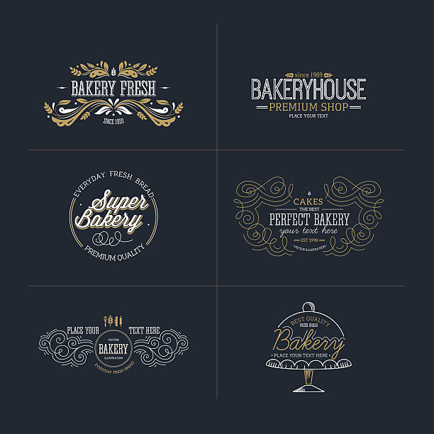 set of bakery and bread logotypes. vector illustration - bakeries stock illustrations, clip art, cartoons, & icons