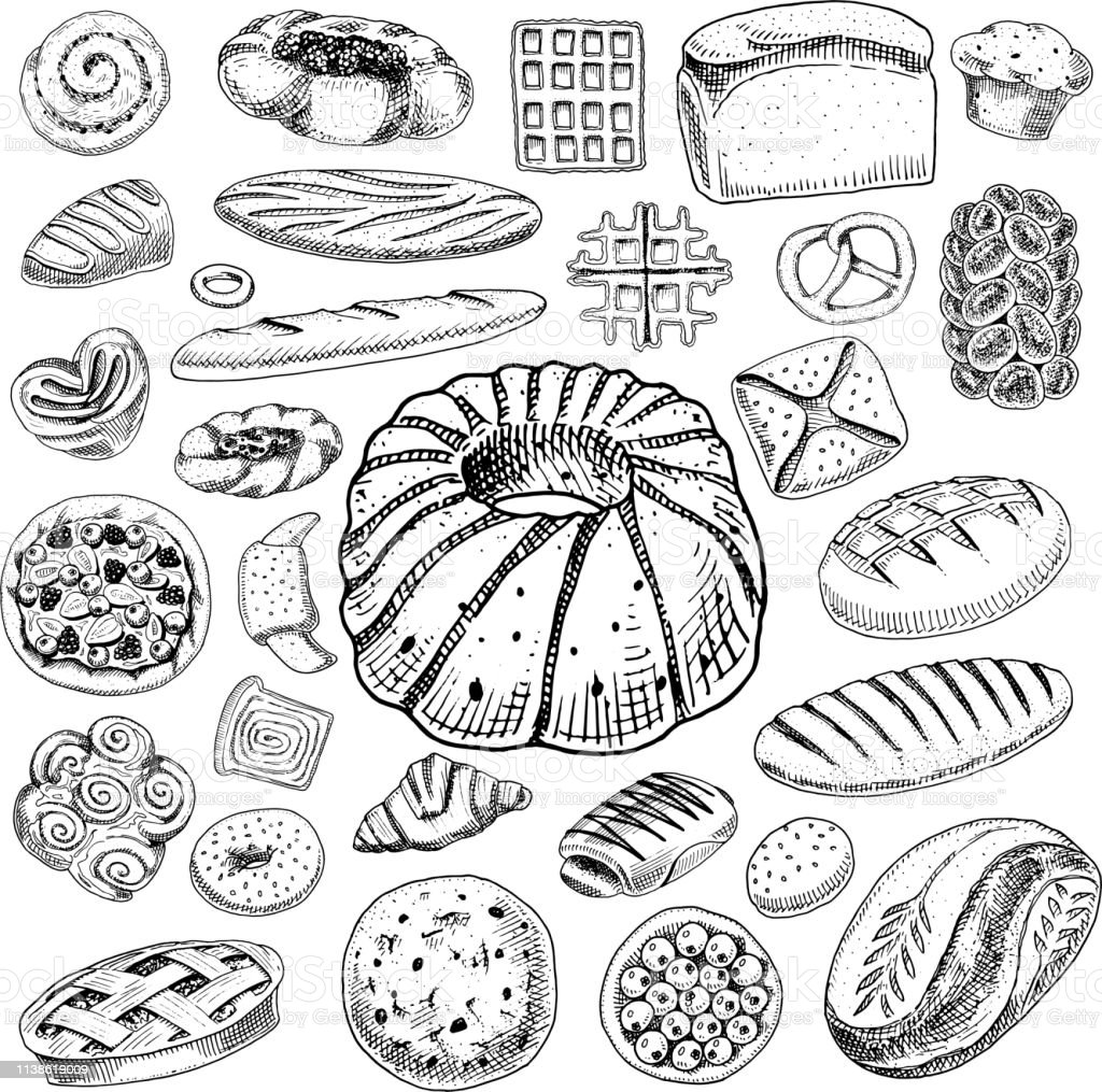 Set of Bakery and pastry products. Bread and pie, buns and cakes....