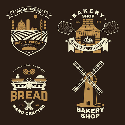 Set of bakery badge, logo. Vector. Typography design with farm, ears of wheat, old oven, windmill silhouette. Template for restaurant identity objects, packaging and menu