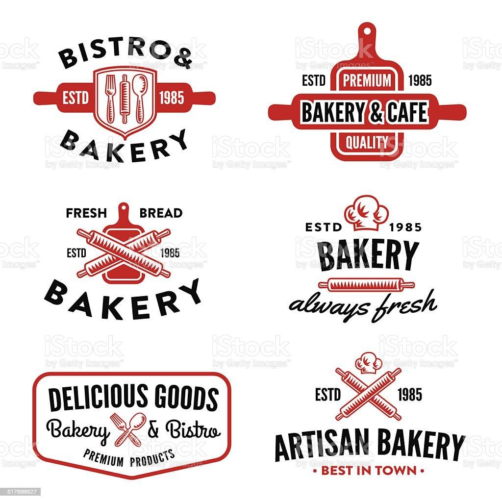 Set of bakery badges vector art illustration