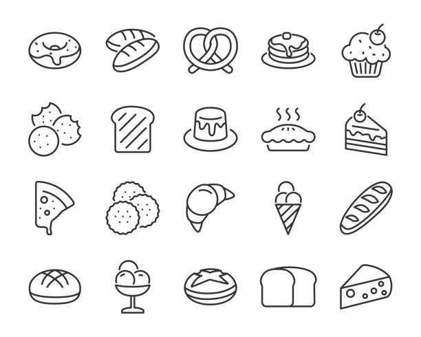 set of bakery icons , such as bake, bread, toast, pie, waffle, pizza, donut, cake set of bakery icons , such as bake, bread, toast, pie, waffle, pizza, donut, cake bread icons stock illustrations