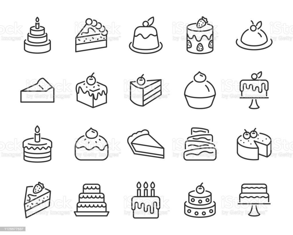 Satz von Bäckerei-Ikonen, wie Kuchen, Krapfen, Brot, Käse, Kuchen, Torte - Lizenzfrei Bagel Vektorgrafik