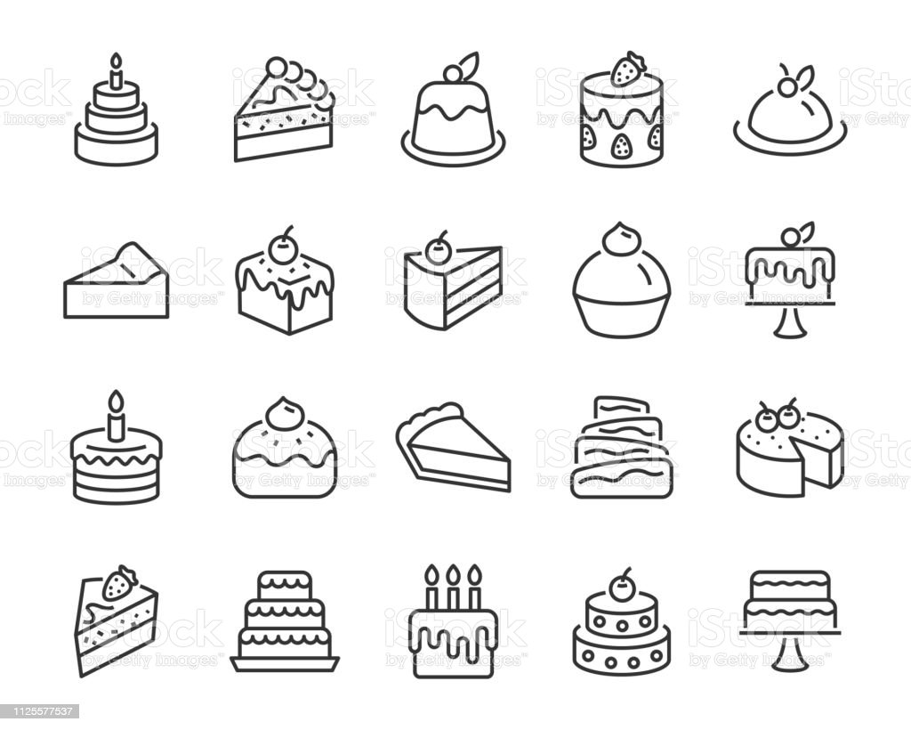 set of bakery icons, such as cake, doughnut,  bread, cheese, pie, tart - Royalty-free Batata Frita - Lanche arte vetorial
