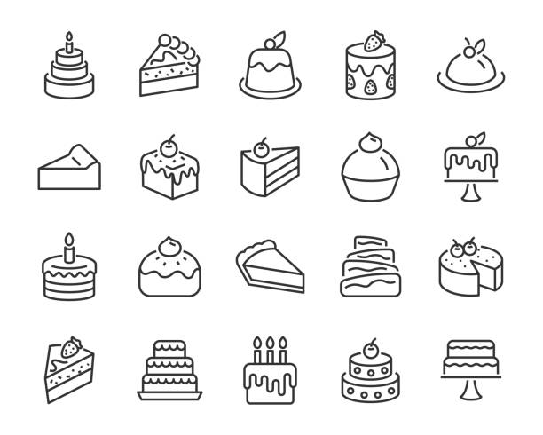 set of bakery icons, such as cake, doughnut,  bread, cheese, pie, tart set of bakery icons, such as cake, doughnut,  bread, cheese, pie, tart cake stock illustrations