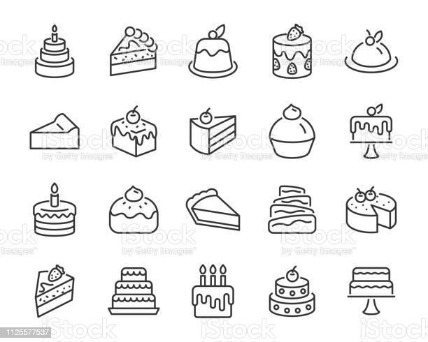 Satz Von Bäckereiikonen Wie Kuchen Krapfen Brot Käse Kuchen Torte Stock Vektor Art und mehr Bilder von Bagel