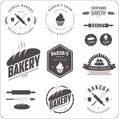 Set of bakery labels and design elements.