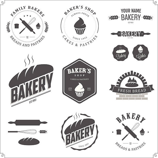 Set of bakery labels and design elements Set of bakery labels and design elements. rolling pin stock illustrations