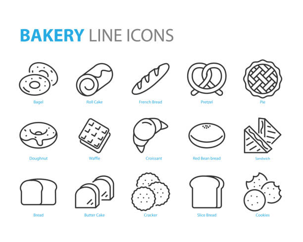 set of bakery line icons, such as bread, waffle, cake, bun set of bakery line icons, such as bread, waffle, cake, bun bread stock illustrations