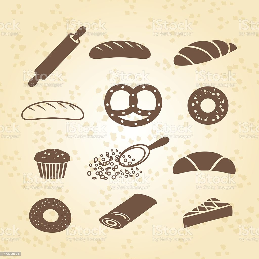 Set of bakery, pastry and bread icon vector art illustration
