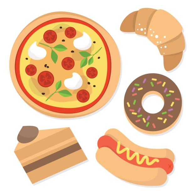 Set of bakery products: pizza, hot dog, croissant, donut and cake / flat editable vector illustration, clip art vector art illustration