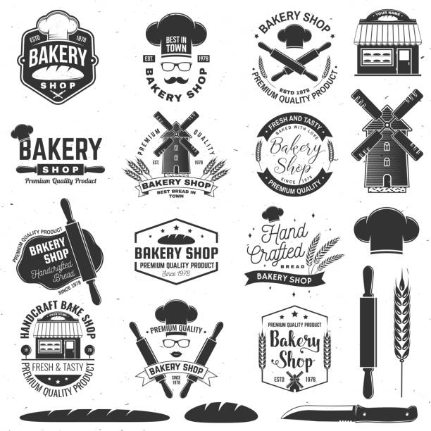 Set of Bakery shop badge. Vector Concept for badge, shirt, label, print, stamp, tee. Design with windmill, rolling pin, dough, wheat ears silhouette. For restaurant identity objects, packaging, menu Set of Bakery shop badge. Vector. Concept for badge, shirt, label, print, stamp, tee. Design with windmill, rolling pin, dough, wheat ears silhouette. For restaurant identity objects, packaging menu pastry dough stock illustrations