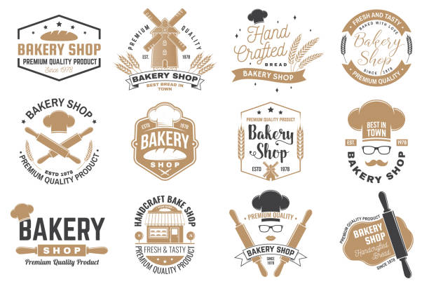 Set of Bakery shop badge. Vector Concept for badge, shirt, label, print, stamp, tee. Design with windmill, rolling pin, dough, wheat ears silhouette. For restaurant identity objects, packaging, menu Set of Bakery shop badge. Vector. Concept for badge, shirt, label, print, stamp, tee. Design with windmill, rolling pin, dough, wheat ears silhouette. For restaurant identity objects, packaging menu bakery stock illustrations