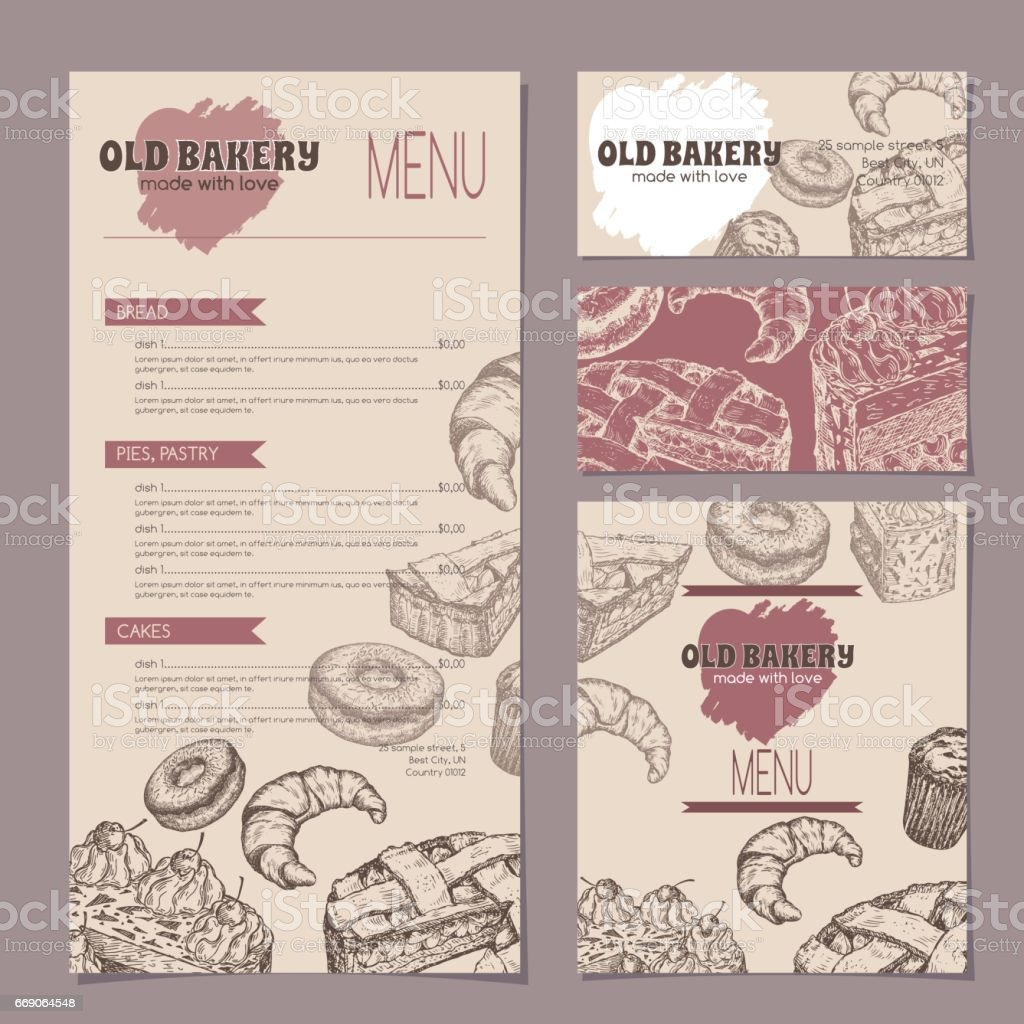 set of bakery shop templates with menu visit cards and reserved card