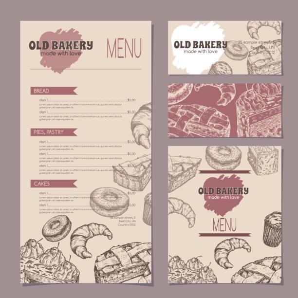 ilustrações, clipart, desenhos animados e ícones de jogo de moldes da loja da padaria com menu, cartões da visita e cartão reservado - delicatessen