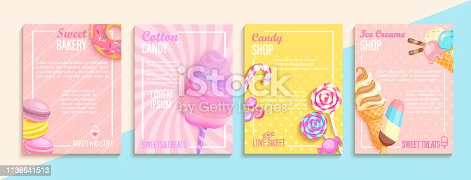 Set of bakery,candy,cotton candy,ice cream flyers