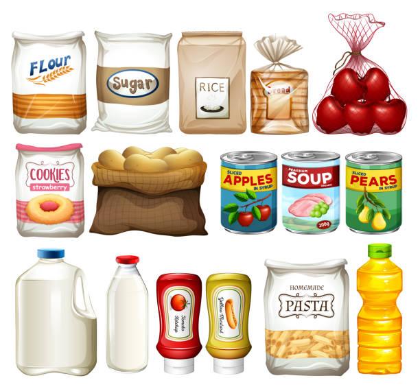 ilustrações de stock, clip art, desenhos animados e ícones de a set of baking element - açúcar