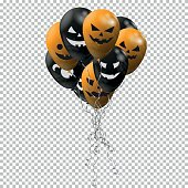 Set of balloons. Black and orange balloons with smiles for Halloween on transparent background. Design for Happy Halloween. Vector illustration.